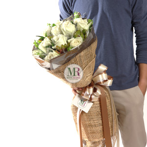 Classic White Roses Hand-tied bouquet