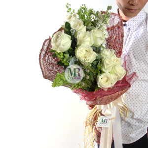 Popular White Roses hand-tied bouquet