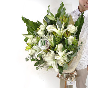 Believe in Love - white roses and lilies hand-tied bouquet