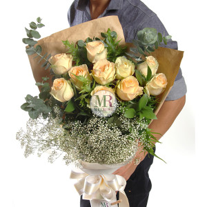 Tender Peach Color Roses hand-tied bouquet