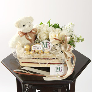 In the Garden II- Bear and Chocolates gift basket