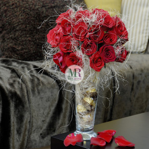 For You Red Roses with Chocolates Perfect Gift Vase