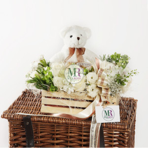 In the Garden I- Bear and Chocolates gift basket