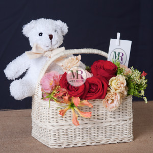 Mr.Bear with Love Flower Basket