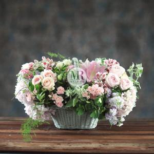Stylish Pink Flowers Basket
