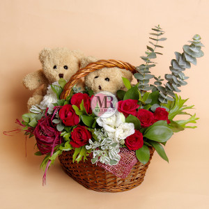 Double Brown Bears In Love - Flower Basket