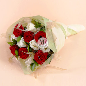 Two Tone Hand-tied Bouquet : Red and White Roses