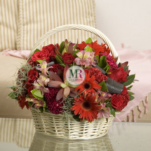 Majestic Red Flower Basket