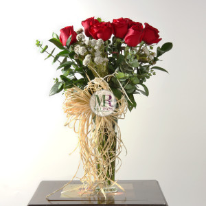 Romantic Red Roses Vase
