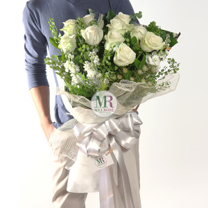 White White Roses hand-tied bouquet