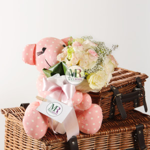 Sending My Love - Cutie Pink Bear with a small hand-tied bouquet