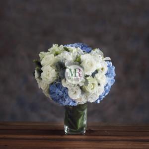 Pleasing White & Blue Flowers Arrangement