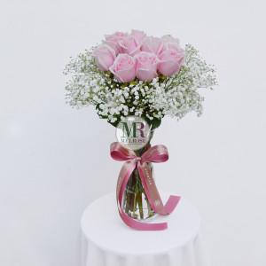 Romantic Pink Roses Vase