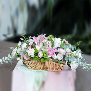 Romantic Pink Flower Basket