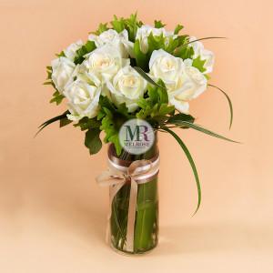 Classic White Roses Vase