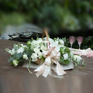 White Elegance Flower Basket